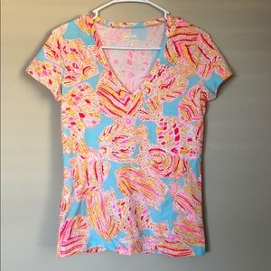 Lilly Pulitzer Print Michele V-Neck Top NWOT
